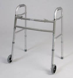 Bariatric walker with wheels - This medical Bariatric walker has a dual button to fold. Weight capacity 450 pounds. This functional lightweight aluminum walker has Limited lifetime warranty on frame.