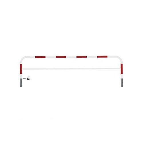 【個人宅配送不可】GR23989 直送 スチール製バリカー 横型コノ字型アーチ型U字型車止めポール(スタンダードタイプ) 中桟付中桟あり φ60.5xt2.8 W3000 H650(mm) 赤白色   B018QMT24I