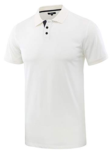 (Estepoba Men's Casual Athletic Regular Fit Short Sleeve Jersey Polo Sport Shirt White/Navy S)
