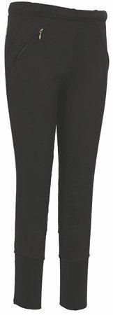 Tuffrider Riding Pants (TuffRider Kid's Unifleece Pull-On Stretch Fleece Knee Patch Breeches, Black, 8)