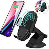 Wireless Car Charger, Keklle 2 in 1 10W Fast Wireless Charger Air Vent & Bracket Phone Holder for iPhoneX/8/8 Plus, Samsung Galaxy S9/S9+/Note 8/S8/S8 Plus/S7/S6 Edge (Black, 10W-Fast Charger)