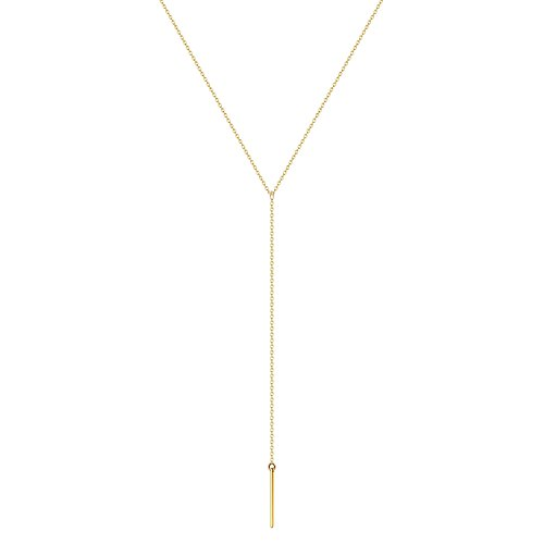 Befettly Womens Y Necklace Simple 14k Gold Filled Polished Embossed Necklace with Baton Bar Pendant Synthetic Sweater Chain-1-Baton ()