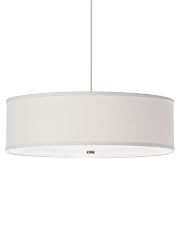 White Satin Nickel Fluorescent Drum - Tech Lighting 700TT2MULPWSCF Tech Lighting 700TT2MULPWS-CF Satin Nickel Mulberry 4 Light Two-Circuit T-TRAK Compact Fluorescent Drum Pendant with White Fabric Shade MulberryCollection