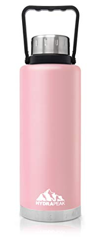 Hydrapeak 67oz Double Wall Stainless-Steel Vacuum Insulated Water Bottle, Wide Mouth Flask with BPA-Free, Leak-Proof Handle Lid (Pink, 67oz) (Hydra Thermos)