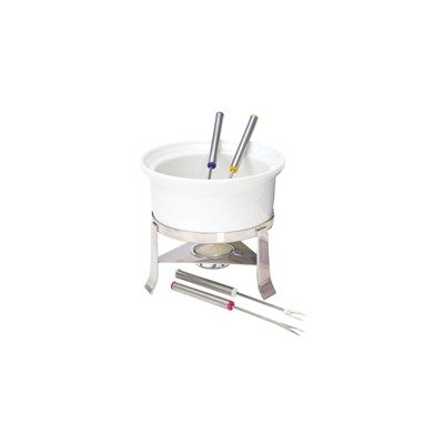 Chantal 3-Cup Ceramic Fun Fondue Set, White
