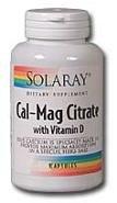 Solaray - Cal-Mag Citrate + D, 180 capsules