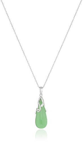 Rhodium Plated Sterling Teardrop Pendant Necklace