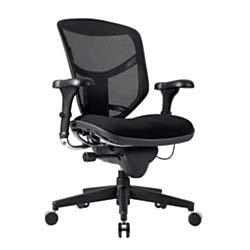 (WorkPro Quantum 9000 Series Ergonomic Mid-Back Mesh/Fabric Chair, Metal Trim/Black)