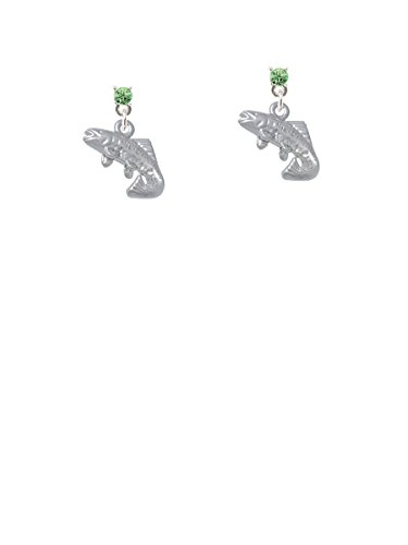 Jumping Trout Lime Green Crystal Post Earrings