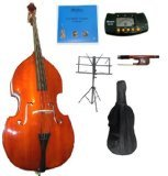 Merano MBF100-1 3/4 Size Acoustic Upright Bass Bag, Bow Bridge with 2 Sets of Strings and Music Stand, Black