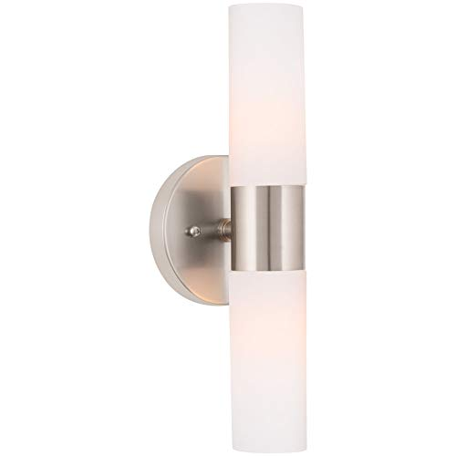 "Kira Home Duo 14"" Modern 2-Light Wall Sconce with Frosted Glass Shades, for Bathroom/Vanity, Brushed Nickel Finish"