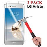 Asstar KKA102417 9H Hardness, 2.5D Tempered Glass, Bubble-Free Screen Protectors for LG Aristo - 2 ()