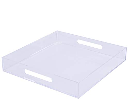 Sooyee 12X12 Clear Decorative Tray Cutout Hand, Spill Proof Large Premium Square Acrylic Tray Perfume Skin Care,Dog Food Bowls, Gardening,Coffee Table, Breakfast, Tea, Food More ()