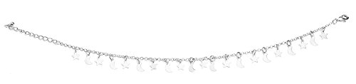 The Paragon Stars and Moons Ankle Bracelet - Silver Anklet For Women (Dangling Star Anklet)