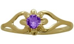 14 Karat Yellow Gold Genuine Amethyst Flower Solitaire Baby Ring - SIZE 3 by Elite Jewels