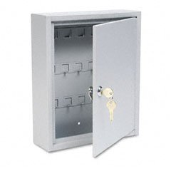 Buddy Products 0128-32 Key Cabinet, 28 Hooks, Steel, 3 x 12 x 10-Inches, Platinum by Buddy Products