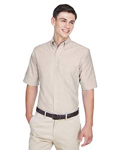 Collar House Dress - UltraClub mens Classic Wrinkle-Free Short-Sleeve Oxford(8972)-TAN-XL