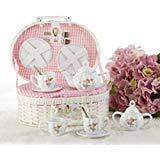 Delton Product Porcelain Tea Set in Basket Mermaid,Pink,10 x 7