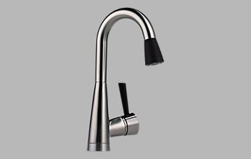 Brizo 63970LF-SSST Venuto Single Handle Pull-Down Bar/Prep Faucet with SoftTouch, Stainless and Black