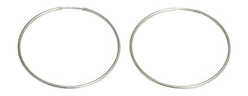 Sterling Silver Continuous Endless Wire Hoop Earrings (1mm Tube) (40mm)