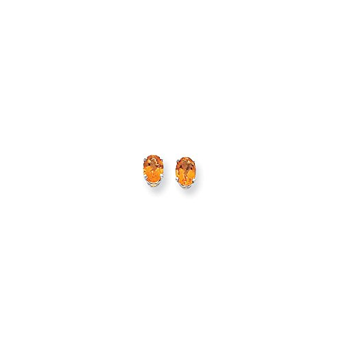 (14k White Gold 7x5mm Oval Citrine Earrings. Gem Wt-)