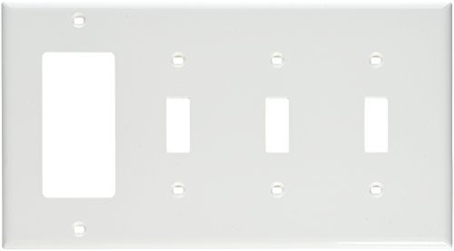 Leviton Decora Nylon 3 Gang - Leviton 80732-W 4-Gang 3-Toggle 1-Decora/GFCI Device Combination Wallplate, Standard Size, Thermoplastic Nylon, Device Mount, White