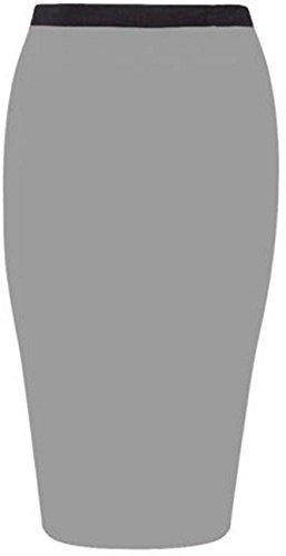 New Womens Plus Size Jersey Stretch Midi Bodycon Pencil Casual Skirts (18, Light Grey)