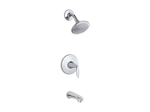 (KOHLER TS5318-4-CP Refinia(R) Rite-Temp(R) bath and shower valve trim with lever handle, spout and 2.5 gpm showerhead)