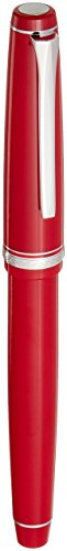 (Pilot Falcon Collection Fountain Pen, Red with Rhodium Accents, Blue Ink, Soft Broad Nib)