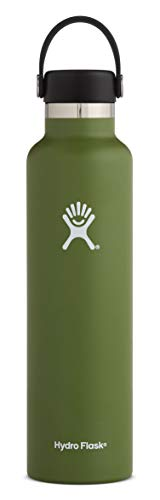 Hydro Flask 24 oz Water Bottle - Stainless Steel & Vacuum Insulated - Standard Mouth with Leak Proof Flex Cap - Olive