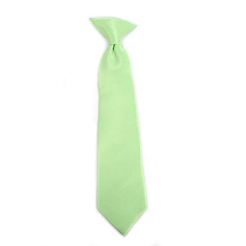 Boy's Solid Clip on Tie (11 inch, Lime)