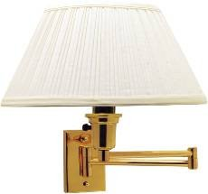 National Brand Alternative 617013 Swing Arm Wall Lamp , Maximum One 150 Watt Three Way Incandescent Medium Base Bulb, Polished Brass with Ivory Shade, 12.568