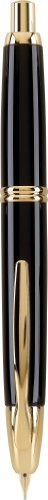Pilot Vanishing Point Collection Retractable Fountain Pen, Black with Gold Accents, Blue Ink, Fine Nib (60165)
