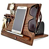 (Wood Phone Docking Station, Ash Desk Organizer, Tablet Holder, Key Hooks, Coin, Wallet, Watch Stand, Handmade Men Graduation Gift, Husband Anniversary)