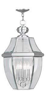 Livex Lighting 2357-91 Monterey 4-Light Outdoor Hanging Lantern, Brushed Nickel ()