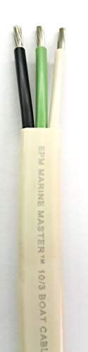 10/3 AWG Triplex Tinned Marine Wire, Black/Green/White 50 Feet by Marine Master (Image #2)