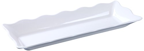 Yanco DC-6117W Deli Collection Scallop Edged Display Tray, 17.5'' Length, 6.75'' Width, 2'' Height, Melamine, White Color, Pack of 6 by Yanco