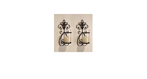 Adeco Black Tan Iron and Glass Vertical Wall Hanging Candle Holder Sconce, Scroll and Cross Design, Antique European Fleur de Lis Style, Holds One Pillar Candle, Set of Two