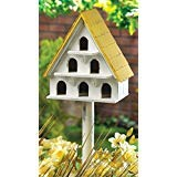 (WHITE CAPE COD BIRD CONDO WOOD BIRDHOUSE Yard Garden Bird House & POLE NEW ,,#id(theonlyshopuneed; TRYK25351671816988)
