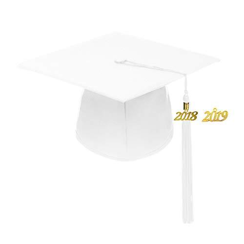Annhiengrad Unisex Adult Matte Graduation Cap with Tassel 2018&2019,White,Adjustable -