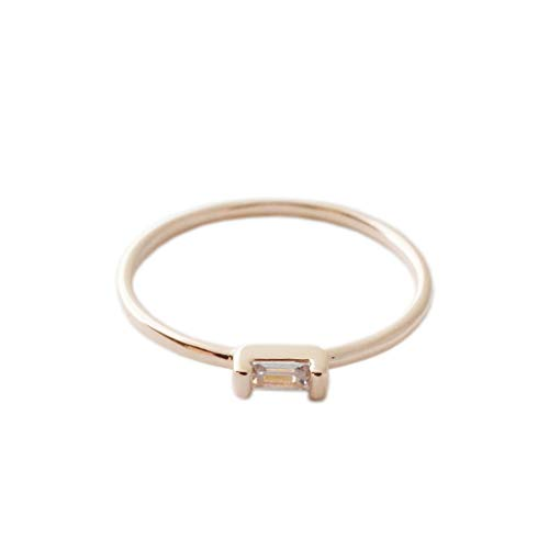 (HONEYCAT Tiny Baguette Crystal Ring in 24k Gold Plate | Minimalist, Delicate Jewelry (Smooth/RG/6))
