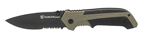 Smith & Wesson 7.75in High Carbon S.S. Spring Assisted Folding Knife with 3.25in Serrated Drop Point Blade and Rubberized Aluminum Handle for Outdoor Survival and EDC (Best Spring Assisted Knife 2019)