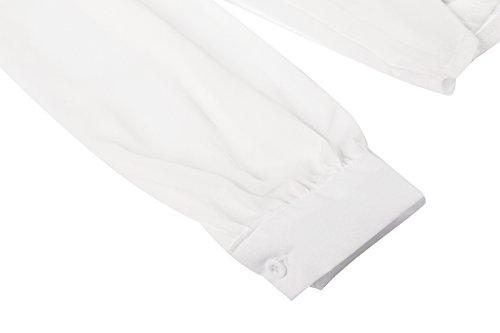 Beauty7 Malla Hueco Irregular Camisetas Mujer Verano Mangas Larga Falda Plisada Camisas Blusas T Shirt Tops Tee Parte Superior Casual Ocasional Ropas Blanco