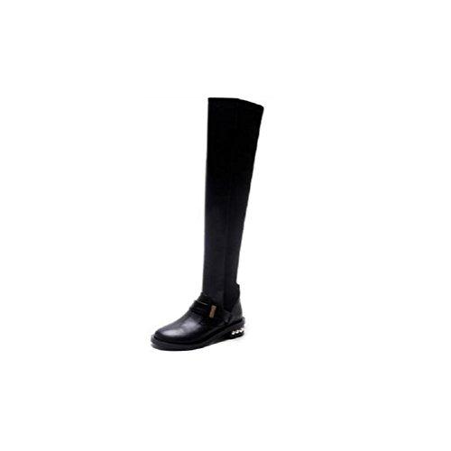 37 al delle genuino del tubo era 34 Coscia gli alto cuoio ginocchio sottile elastico stivali tubo stivali sopra lungo donne qw7IwOU