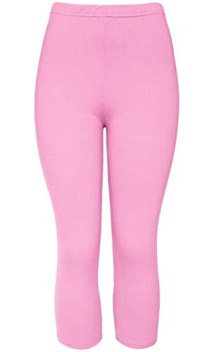 - KMystic Women's Basic Brushed Solid Capri Leggings Regular and Plus Sizes (Plus Size, Baby Pink)