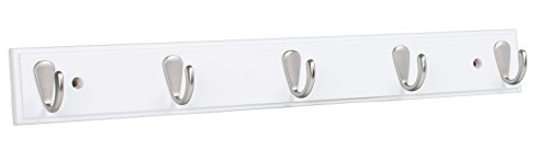 BirdRock Home Modern 5 Hook Coat Rack | White Finish | Satin Nickel Hooks