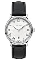 Montblanc Tradition Date White Guilloche Dial Black Leather Mens Watch 112635