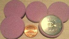 - 5 Lavender Knit Fabric Covered Flat Top Metal Shank Buttons 1 5/16