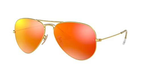 Ray Ban 3025 Aviator RB 3025 112/69 58mm Matte Gold Frame w/ Brown Mirror Orange (Ray Ban 3025 Gold Brown)
