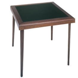 Square Wood Folding Table with Vinyl Inset in Black and Mahogany